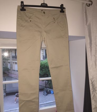 Pantalon toile beige Massimo Dutti