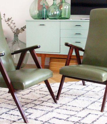 Paire de fauteuils scandinave vintage 1950's