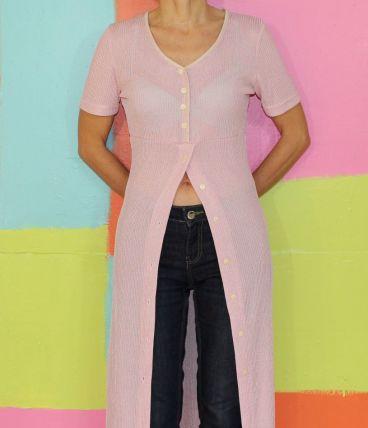 robe longue chemise droite rose pale T38-40 sandro vintage
