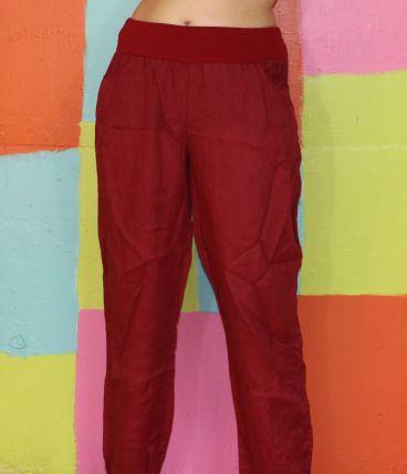 pantalon à poches lin droit rouge TXXL/44-46 lilly & liora