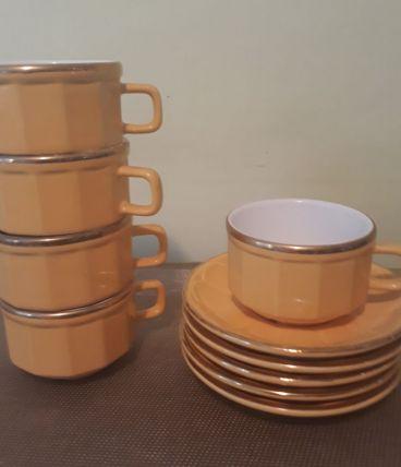 5 tasses à café bistrot, jaunes, liseré doré, vintage
