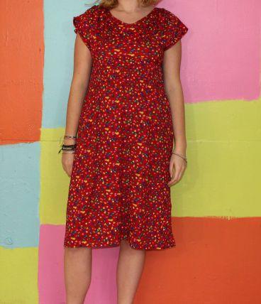 robe droite motif pois cœur T38-40 vintage