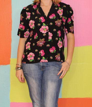 haut chemise manche courte motif fleur T44-46 jean biolay
