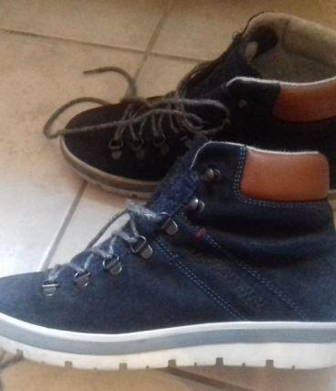 Chaussure ville cuir marine, effet montagne NAPAPIJI