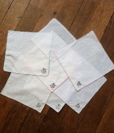 Lot De 7 Mouchoirs Carré En Coton Blanc- Neuf