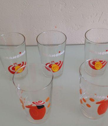 Lot de 5 verres ORANGINA vintage / années 70-80