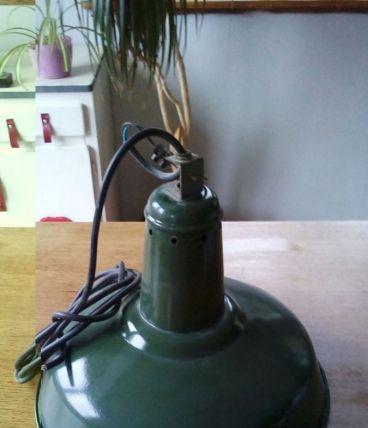 Grande lampe suspension d'atelier industriel vintage