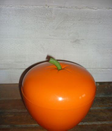 Seau à glaçon vintage forme pomme - orange très bon état.
