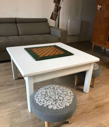 Table basse blanche en chêne massif