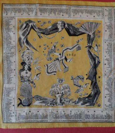 Superbe foulard ancien carré en soie 1953