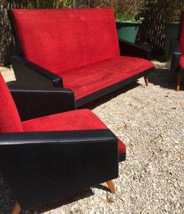 Canapé fauteuil vintage années 50/60 velours rouge Skaï noir