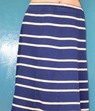 jupe droite mi longue motif rayure T48-50 vintage rétro