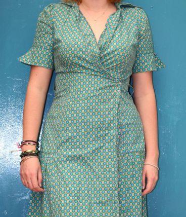 robe portefeuille décolleté motif fleur T38-40 vintage