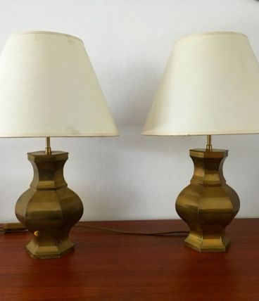2 lampes en laiton vintage années 70