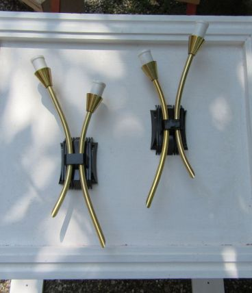 Paire de 2 appliques murales modernistes 2 joncs creux, doré