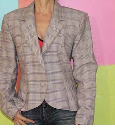 veste blazer carreaux tartan TS/36-38 sisley vintage