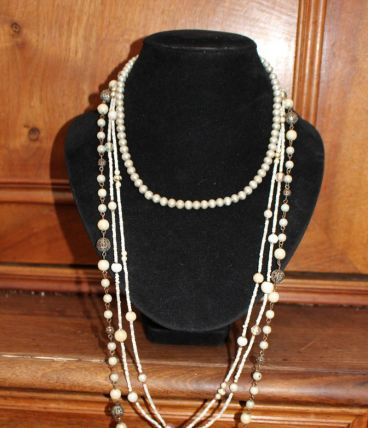 lot colliers perle effet dore vintage /retro style année 20-