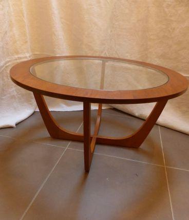 Table basse en teck vintage dessus verre clair