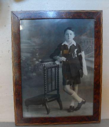 Cadre en loupe d'Orme et marqueterie Années 40