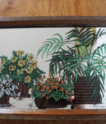 Miroir déco Kitsch Vintage 70'S décor plantes et fleurs