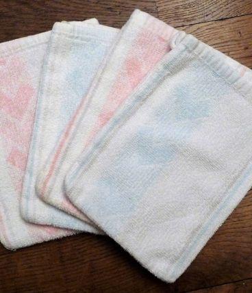 Lot 4 Gants Toilette 100% Coton Blanc/Rose/Bleu-Neuf-Jancris