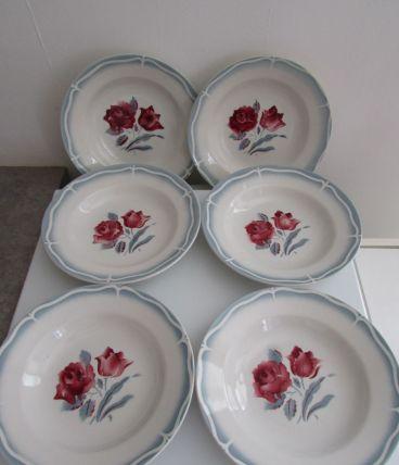 6 assiettes creuses Sarreguemines Alésia décor de roses