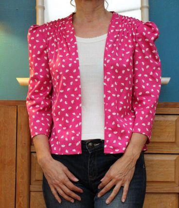 veste motif feuille T36-38 vintage année 80