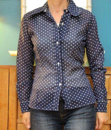 chemise bleu transparente pois T36-38 dacron