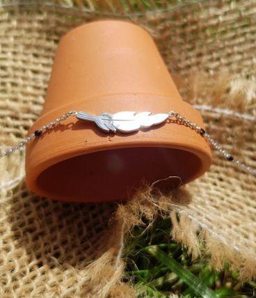 Bracelet Plume Argent Acier Inoxydable