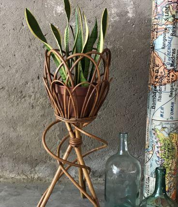 Porte plante en rotin - vintage