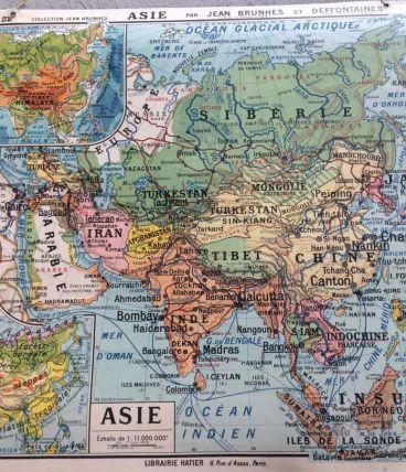 Carte d'école cartonnée ancienne Asie