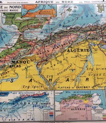 Carte d'école cartonnée ancienne Afrique du Nord