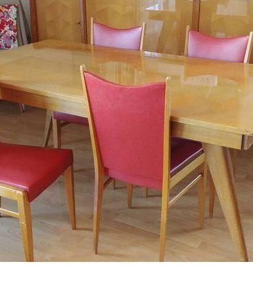 table et chaises vintage années 60
