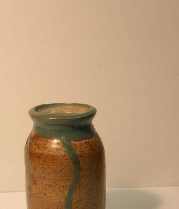 Vase en grès émaillé beige turquoise