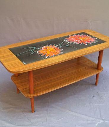 Table basse en teck et Vallauris années 70