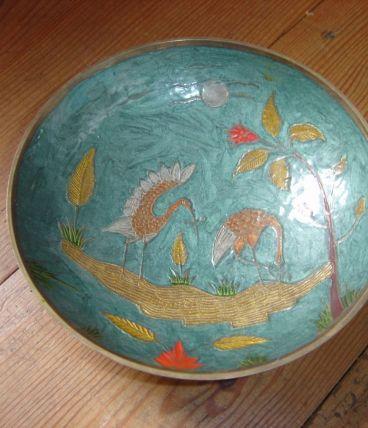 Coupe sur pied Vintage à motif Oiseaux nature