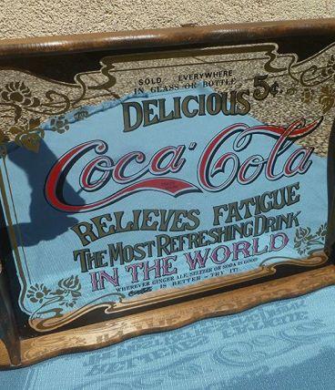 Plateau miroir coca cola , vintage , années 70