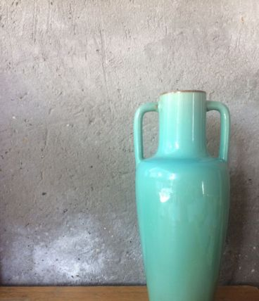 Vase en céramique vintage vert eau Clément Massier