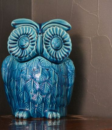 Pot couvercle en forme de chouette en céramique vernis bleue