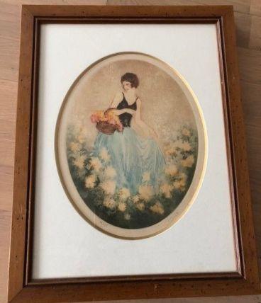 Tableau femme au panier de fleurs