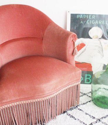 Fauteuil crapaud en velours ROSE années 60