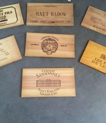 Lot de 7 façades en bois de caisses à vins