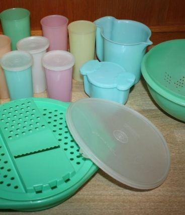 Lot Tupperware Vintage 70's Pastel