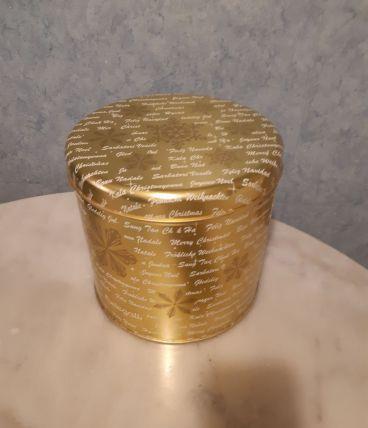Boîte dorée, en métal, grand format, spécial Noël