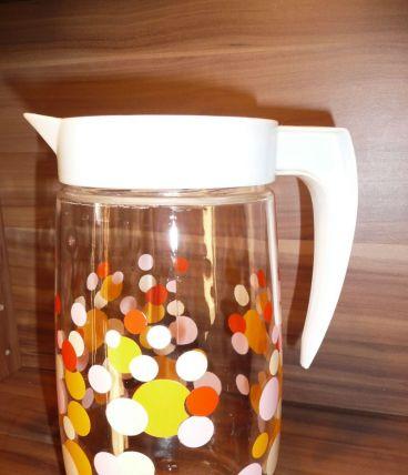 Pot, broc à eau pastilles orangées vintage 70
