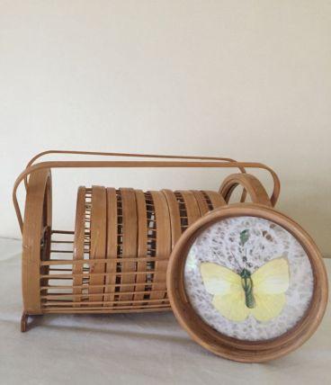 6 dessous de verre avec support bambou