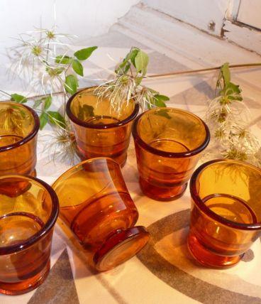 Service de 6 verres Duralex 60 bruns à pied