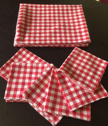 Nappe rectangulaire + 6 serviettes Vichy rouge vintage