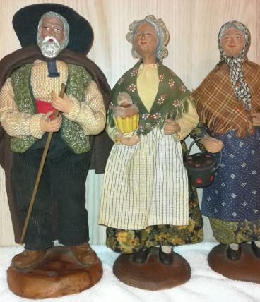 Lot de 3 Santons de Provence Vintage en terre cuite