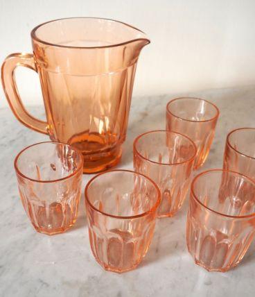 Lot de 6 verres et 1 pichet en verre ambré art déco